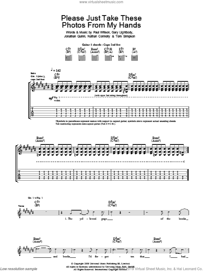 Please Just Take These Photos From My Hands sheet music for guitar (tablature) by Gary Lightbody, Snow Patrol, Nathan Connolly, Paul Wilson and Tom Simpson. Score Image Preview.