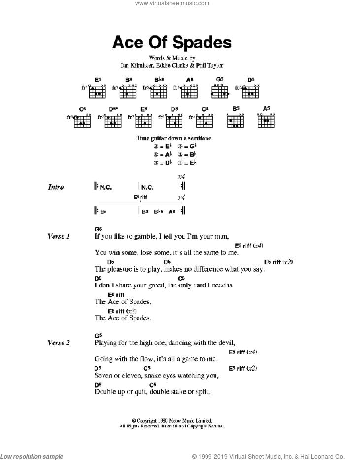 Motorhead - Ace Of Spades sheet music for guitar (chords) [PDF]