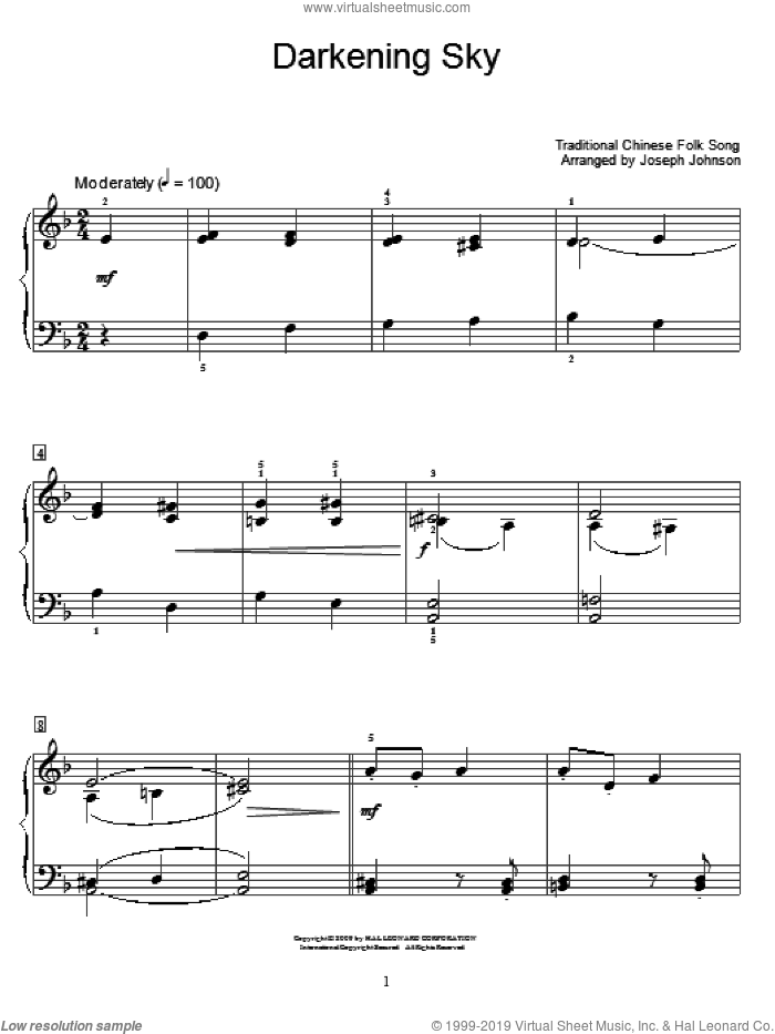 Darkening Sky sheet music for piano solo (elementary)  and Joseph Johnson, beginner piano (elementary). Score Image Preview.