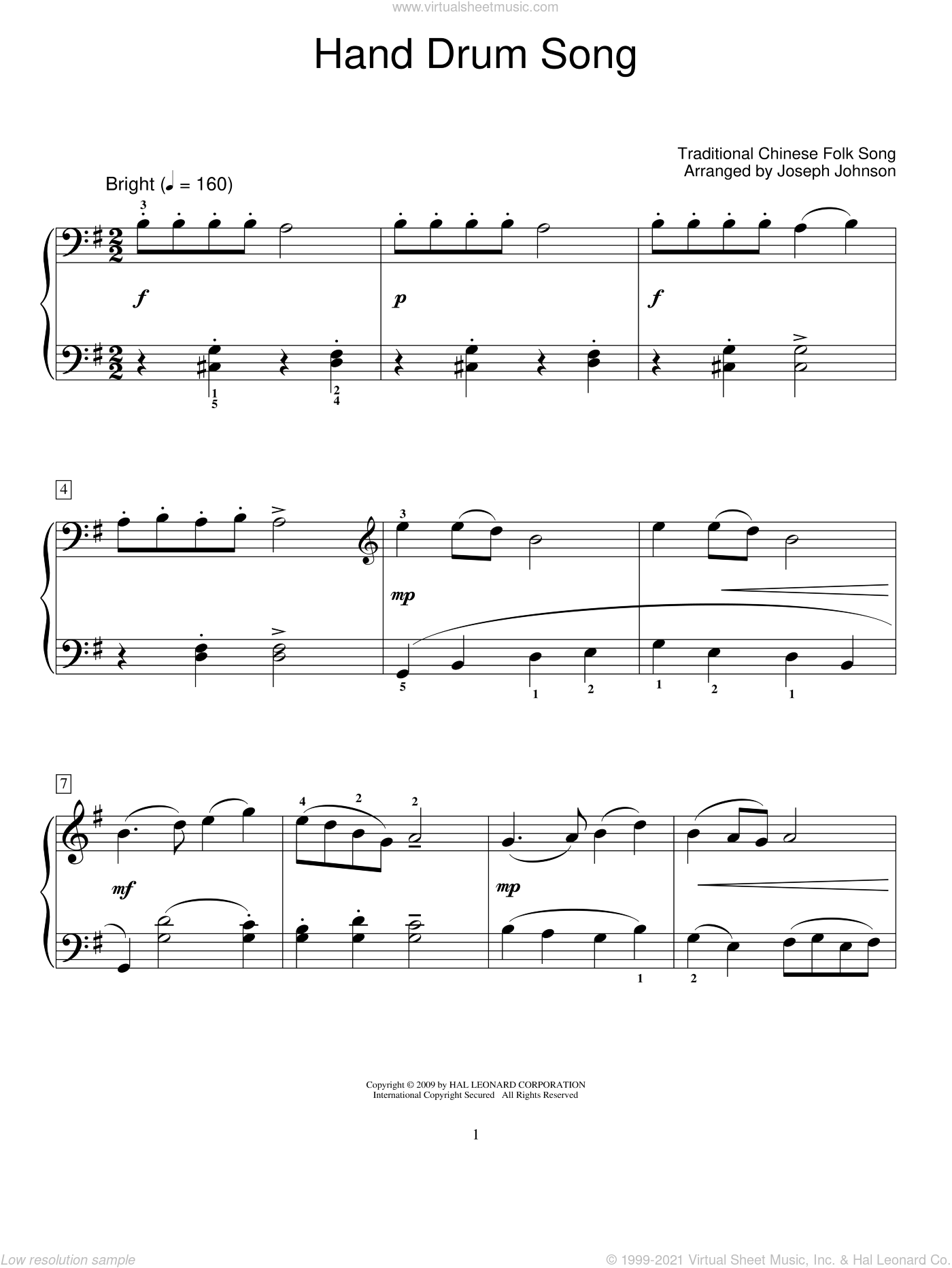 Hand Drum Song sheet music for piano solo (elementary). Score Image Preview.