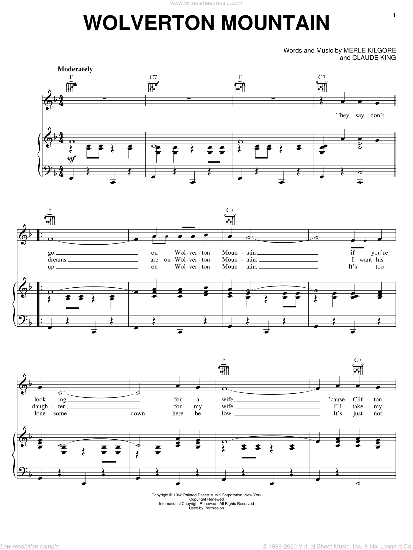 Wolverton Mountain sheet music for voice, piano or guitar by Carole King, Hank Williams, Jr., Claude King and Merle Kilgore, intermediate skill level