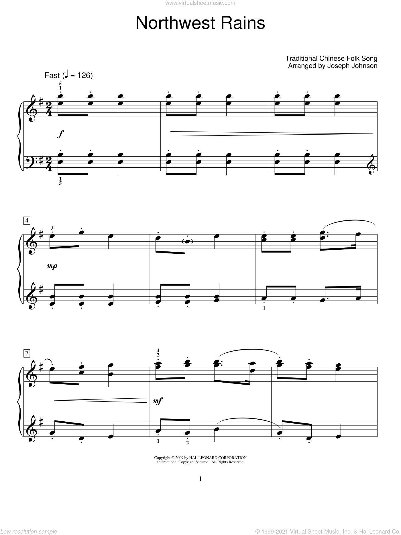 Northwest Rains sheet music for piano solo (elementary), beginner piano (elementary). Score Image Preview.