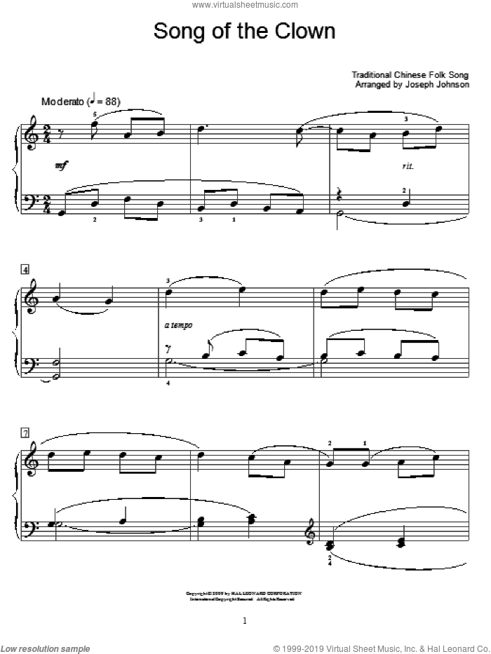 Song Of The Clown sheet music for piano solo (elementary). Score Image Preview.