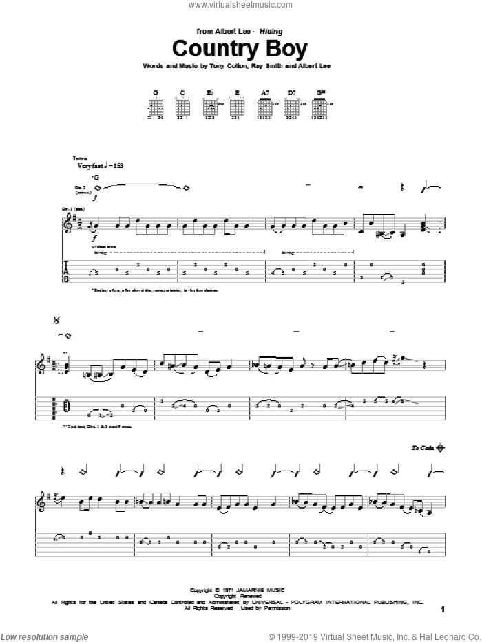 Country Boy sheet music for guitar (tablature) by Albert Lee and Tony Colton, intermediate. Score Image Preview.