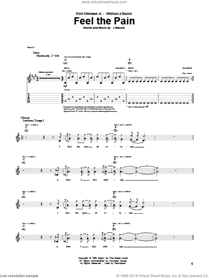 Feel The Pain sheet music for guitar (tablature) by Dinosaur Jr., intermediate guitar (tablature). Score Image Preview.