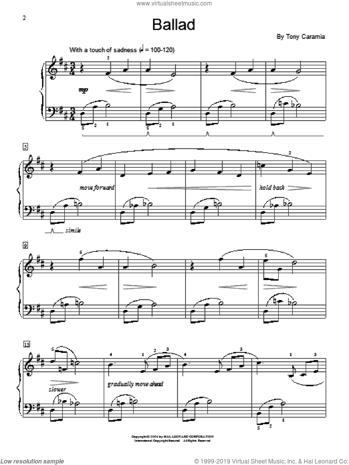 Ballad sheet music for piano solo (elementary) by Tony Caramia and Miscellaneous, beginner piano (elementary)