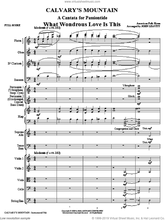 Calvary's Mountain (COMPLETE) sheet music for orchestra/band (chamber ensemble) by John Leavitt, intermediate skill level