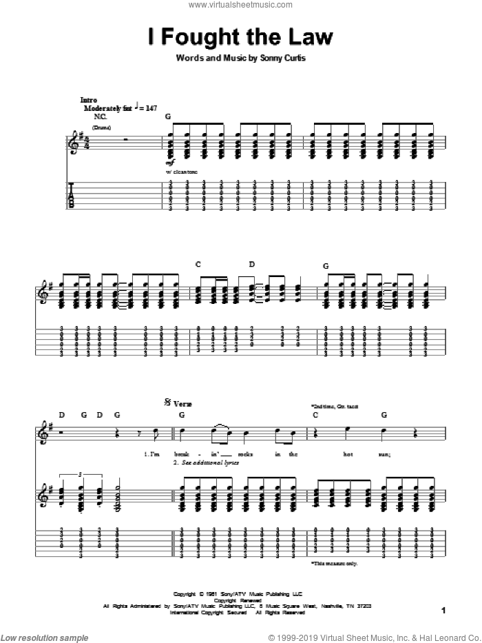 I Fought The Law sheet music for guitar (tablature, play-along) by Sonny Curtis and The Clash. Score Image Preview.