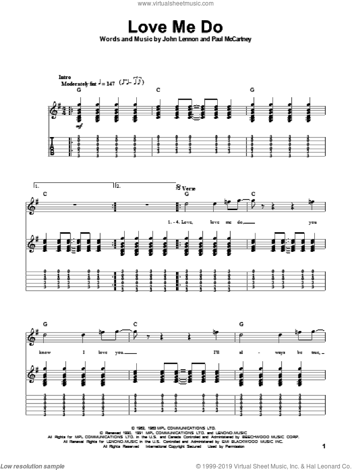 Love Me Do sheet music for guitar (tablature, play-along) by The Beatles, John Lennon and Paul McCartney. Score Image Preview.