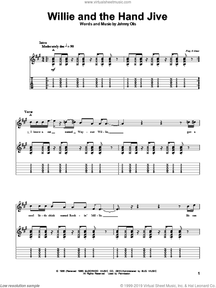 Willie And The Hand Jive sheet music for guitar (tablature, play-along) by Eric Clapton and Johnny Otis, intermediate guitar (tablature, play-along). Score Image Preview.