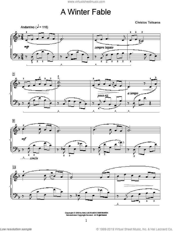 A Winter Fable sheet music for piano solo (elementary) by Christos Tsitsaros