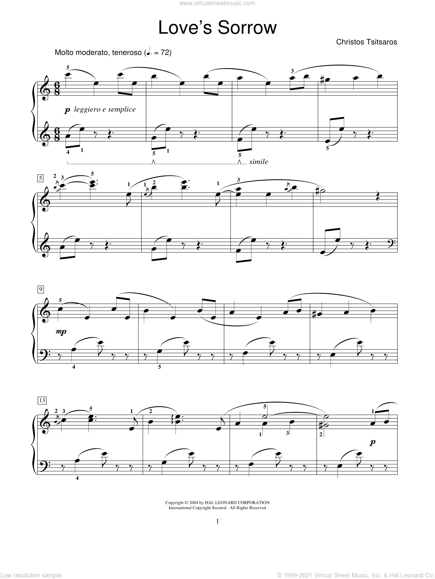 Love's Sorrow sheet music for piano solo (elementary) by Christos Tsitsaros