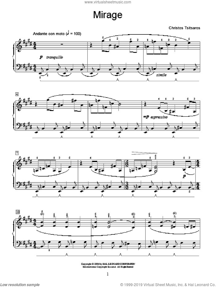 Mirage sheet music for piano solo (elementary) by Christos Tsitsaros and Miscellaneous, classical score, beginner piano (elementary). Score Image Preview.