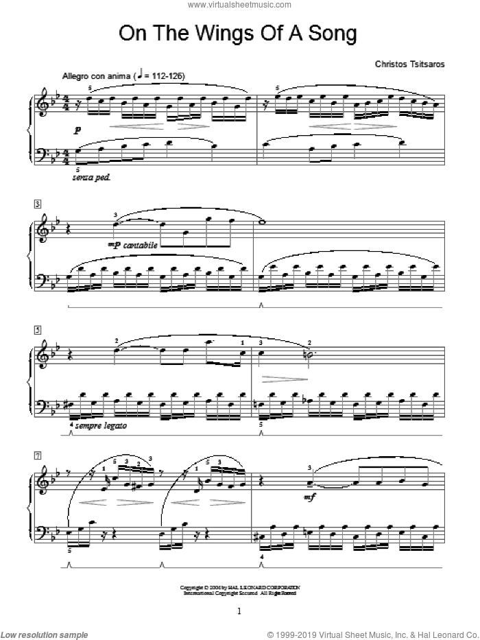 On The Wings Of A Song sheet music for piano solo (elementary) by Christos Tsitsaros and Miscellaneous, classical score, beginner piano (elementary)