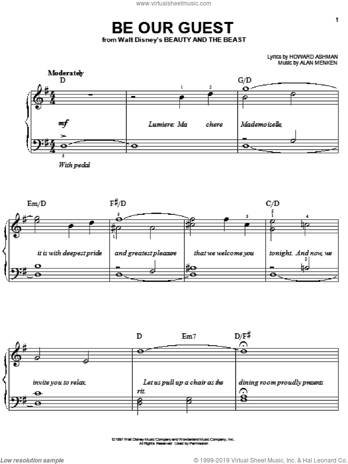 Be Our Guest sheet music for piano solo (chords) by Howard Ashman