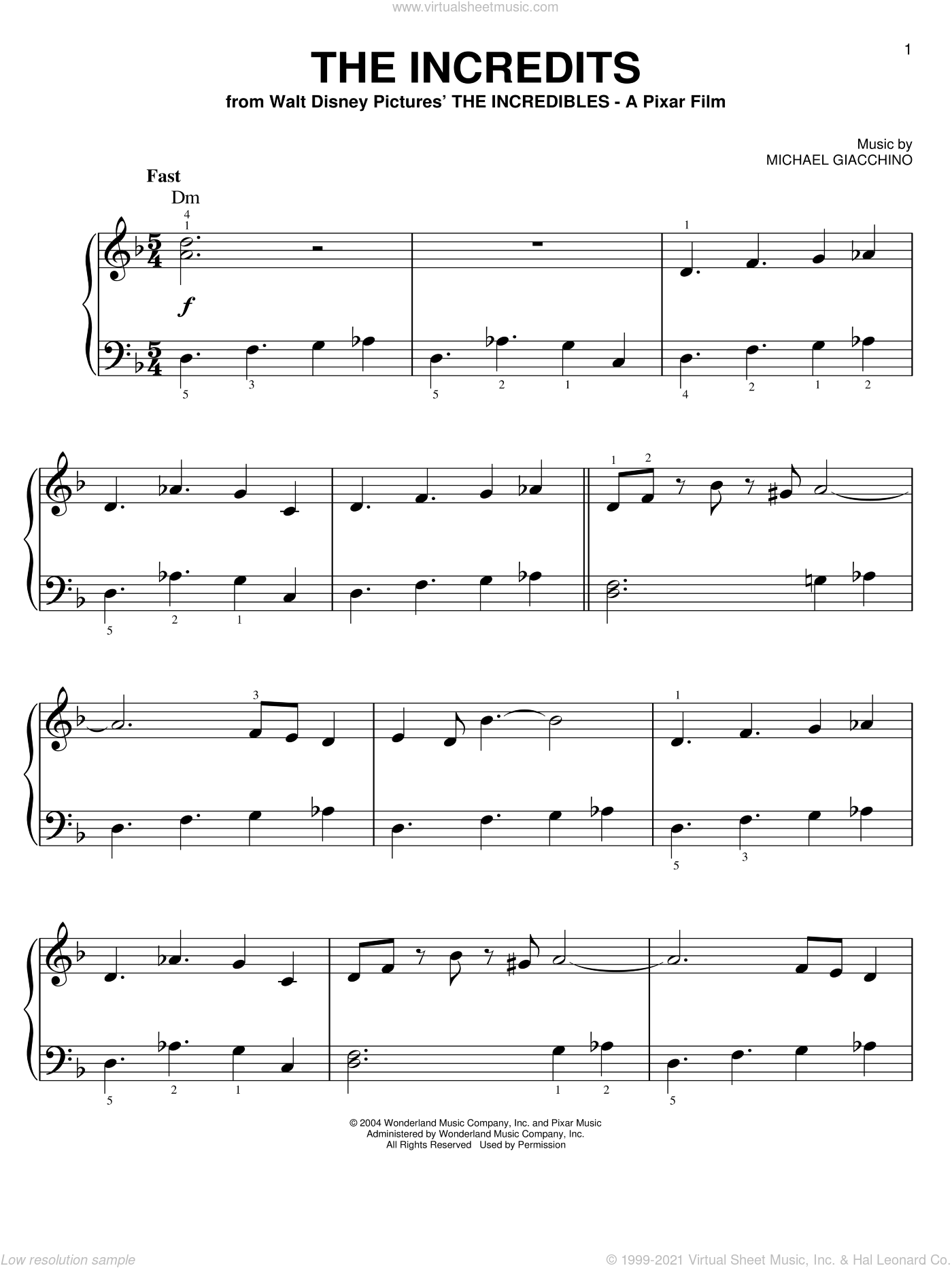 The Incredits (from The Incredibles), (easy) sheet music for piano solo by Michael Giacchino and The Incredibles (Movie), easy skill level