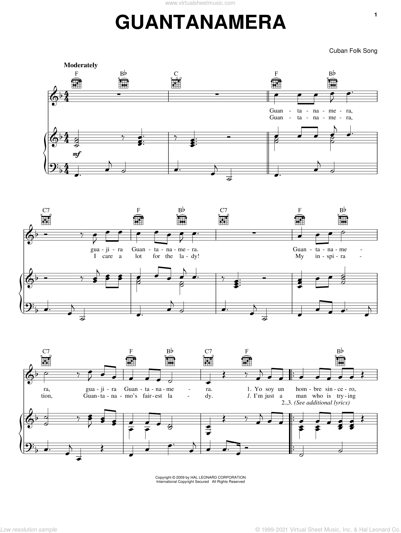 Guantanamera sheet music for voice, piano or guitar, intermediate skill level