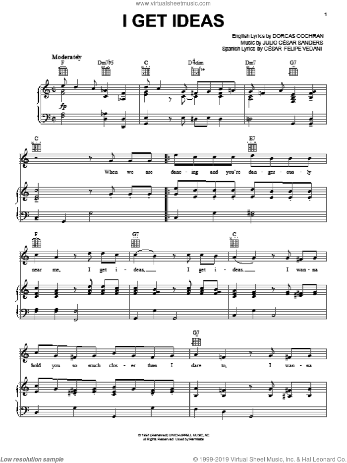 I Get Ideas sheet music for voice, piano or guitar by Julio Cesar Sanders, Louis Armstrong, Tony Martin and Dorcas Cochran