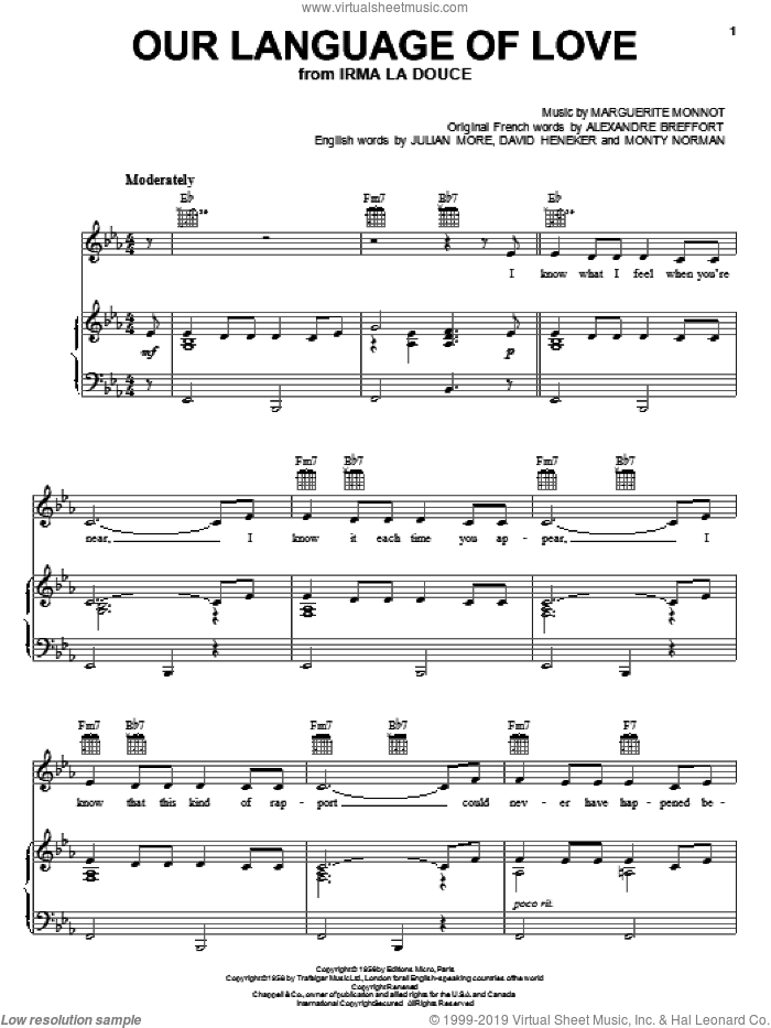 Our Language Of Love sheet music for voice, piano or guitar by Mel Torme, Alexandre Breffort, David Heneker, Julian More and Monty Norman, intermediate. Score Image Preview.
