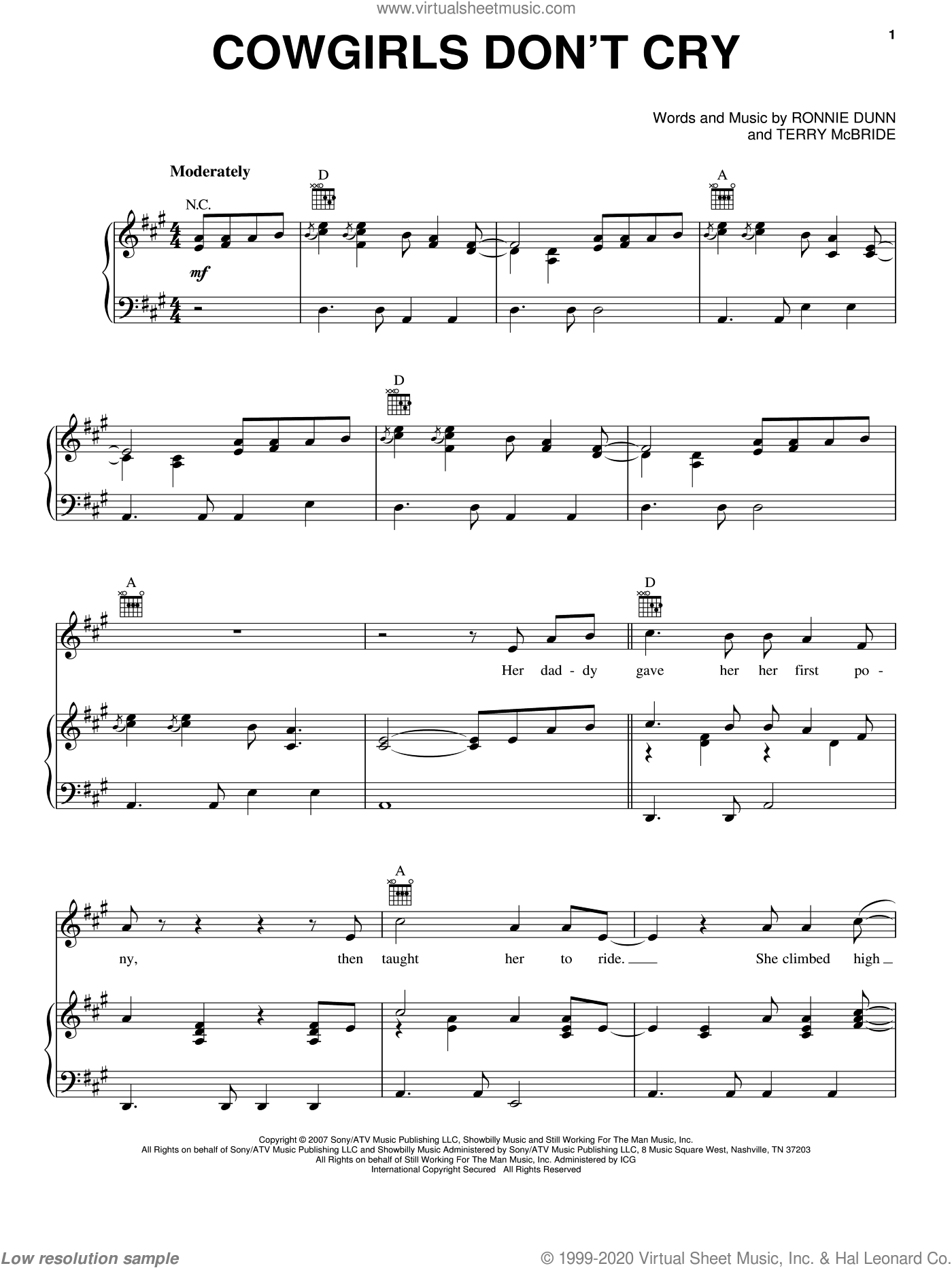 Cowgirls Don't Cry sheet music for voice, piano or guitar by Brooks & Dunn featuring Reba McEntire, Brooks & Dunn and Reba McEntire, intermediate. Score Image Preview.