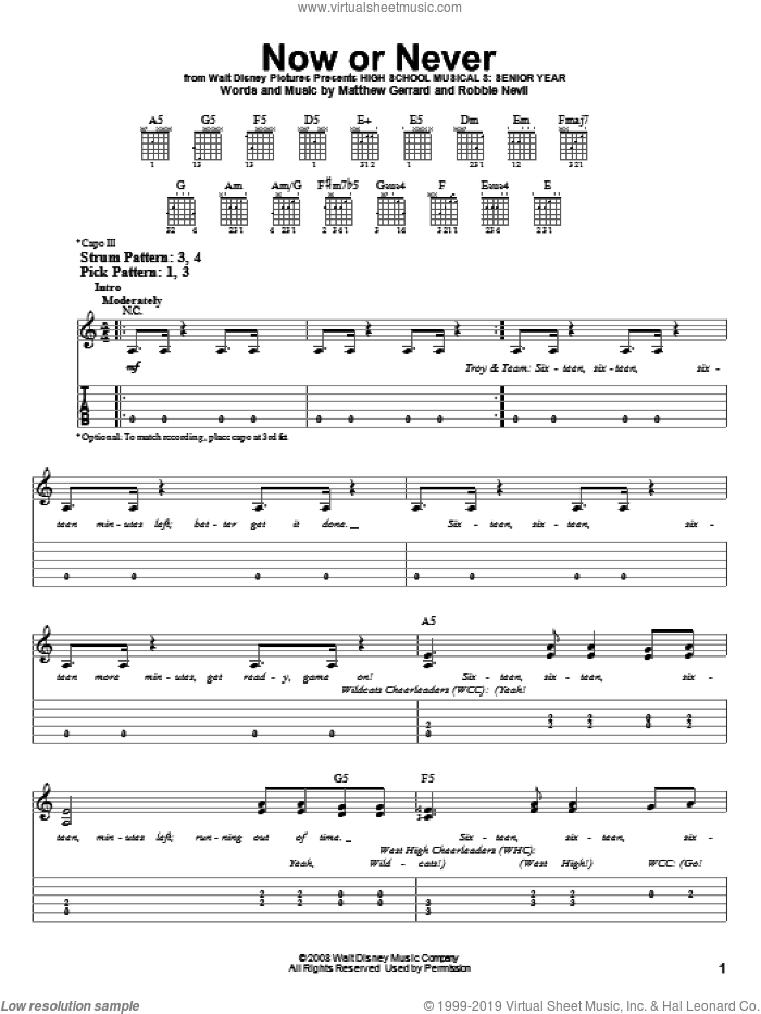 Now Or Never sheet music for guitar solo (easy tablature) by High School Musical 3, Matthew Gerrard and Robbie Nevil, easy guitar (easy tablature). Score Image Preview.