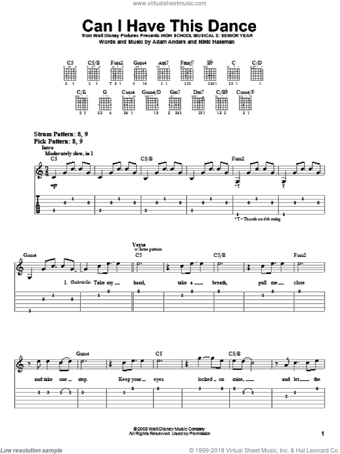 Can I Have This Dance sheet music for guitar solo (easy tablature) by High School Musical 3 and Nikki Hassman. Score Image Preview.