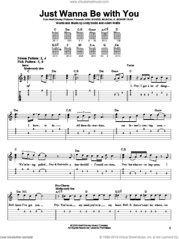 Just Wanna Be With You sheet music for guitar solo (easy tablature) by Andy Dodd and Adam Watts. Score Image Preview.