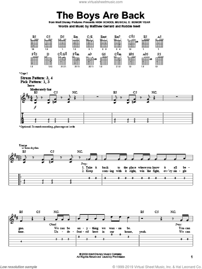 The Boys Are Back sheet music for guitar solo (easy tablature) by High School Musical 3, Matthew Gerrard and Robbie Nevil, easy guitar (easy tablature). Score Image Preview.