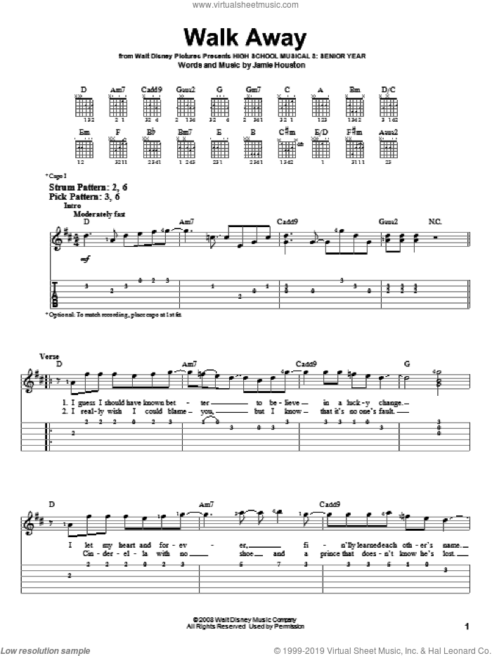 Walk Away sheet music for guitar solo (easy tablature) by High School Musical 3 and Jamie Houston, easy guitar (easy tablature)