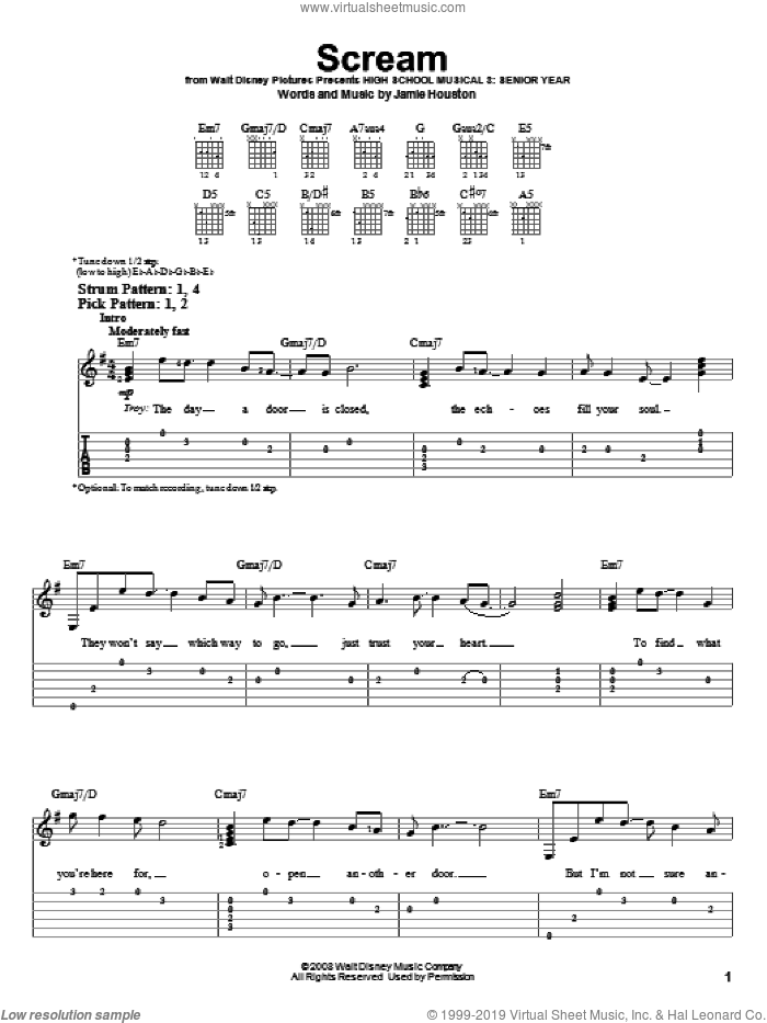 Scream sheet music for guitar solo (easy tablature) by High School Musical 3 and Jamie Houston, easy guitar (easy tablature)