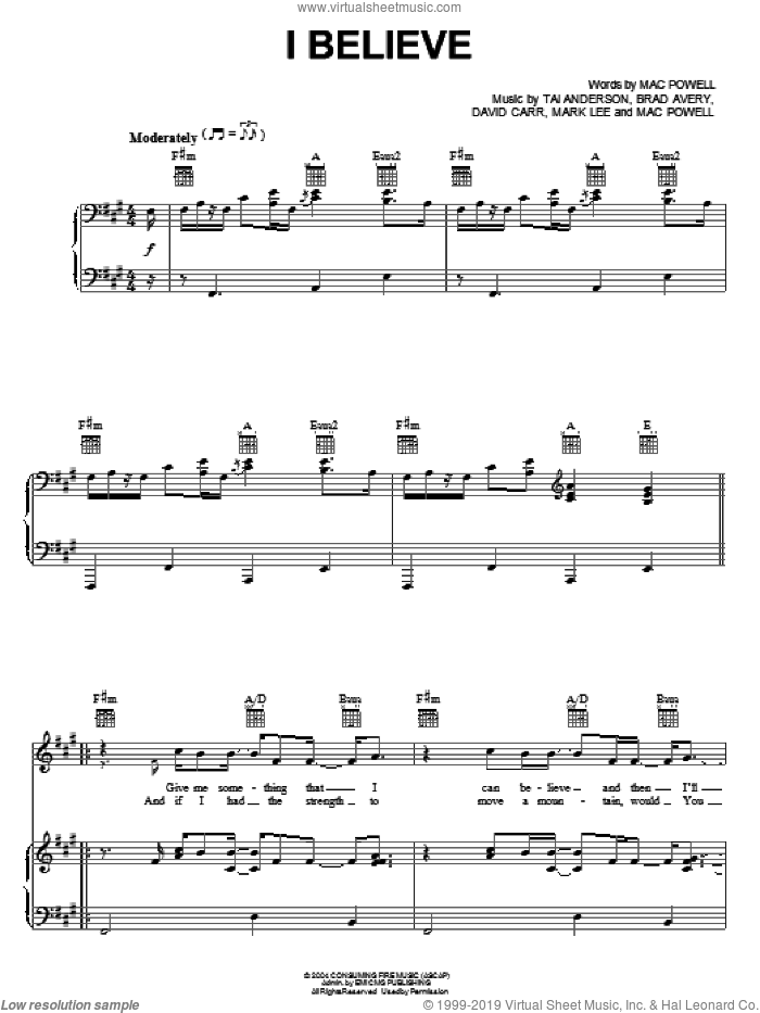 I Believe sheet music for voice, piano or guitar by Third Day, Brad Avery, David Carr, Mac Powell, Mark Lee and Tai Anderson, intermediate skill level