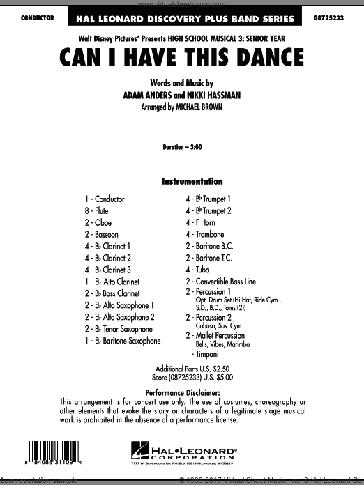 Can I Have This Dance? (from High School Musical 3) (COMPLETE) sheet music for concert band by Adam Anders