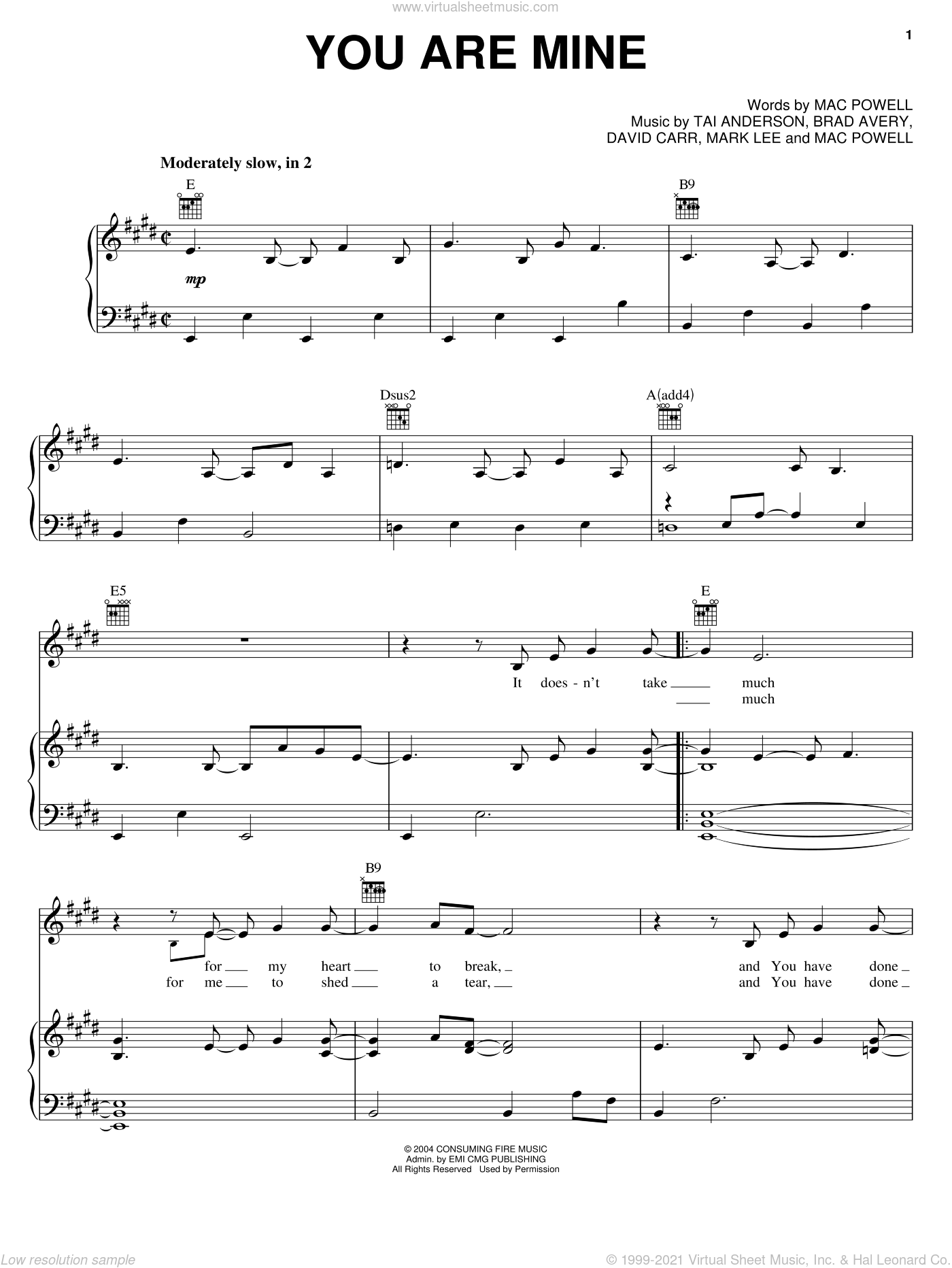 You Are Mine sheet music for voice, piano or guitar by Tai Anderson, Third Day, David Carr, Mac Powell and Mark Lee. Score Image Preview.