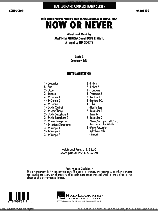 Now or Never (from High School Musical 3) (COMPLETE) sheet music for concert band by Matthew Gerrard