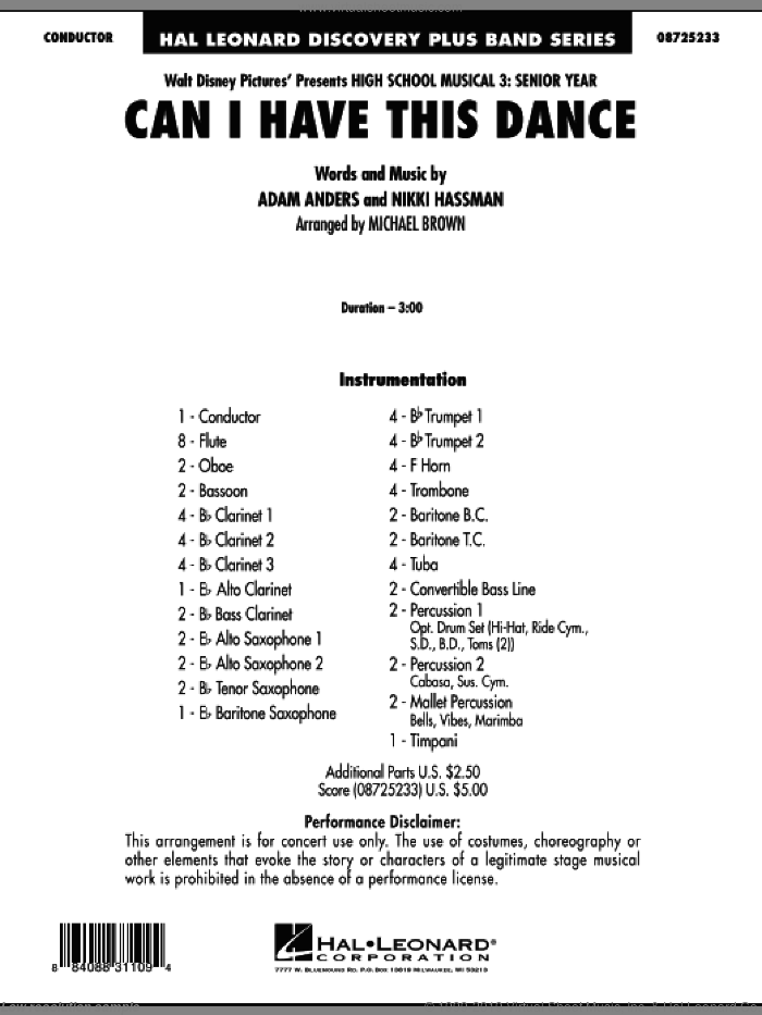 Can I Have This Dance? (from High School Musical 3) (COMPLETE) sheet music for concert band by Nikki Hassman and Michael Brown, intermediate concert band. Score Image Preview.