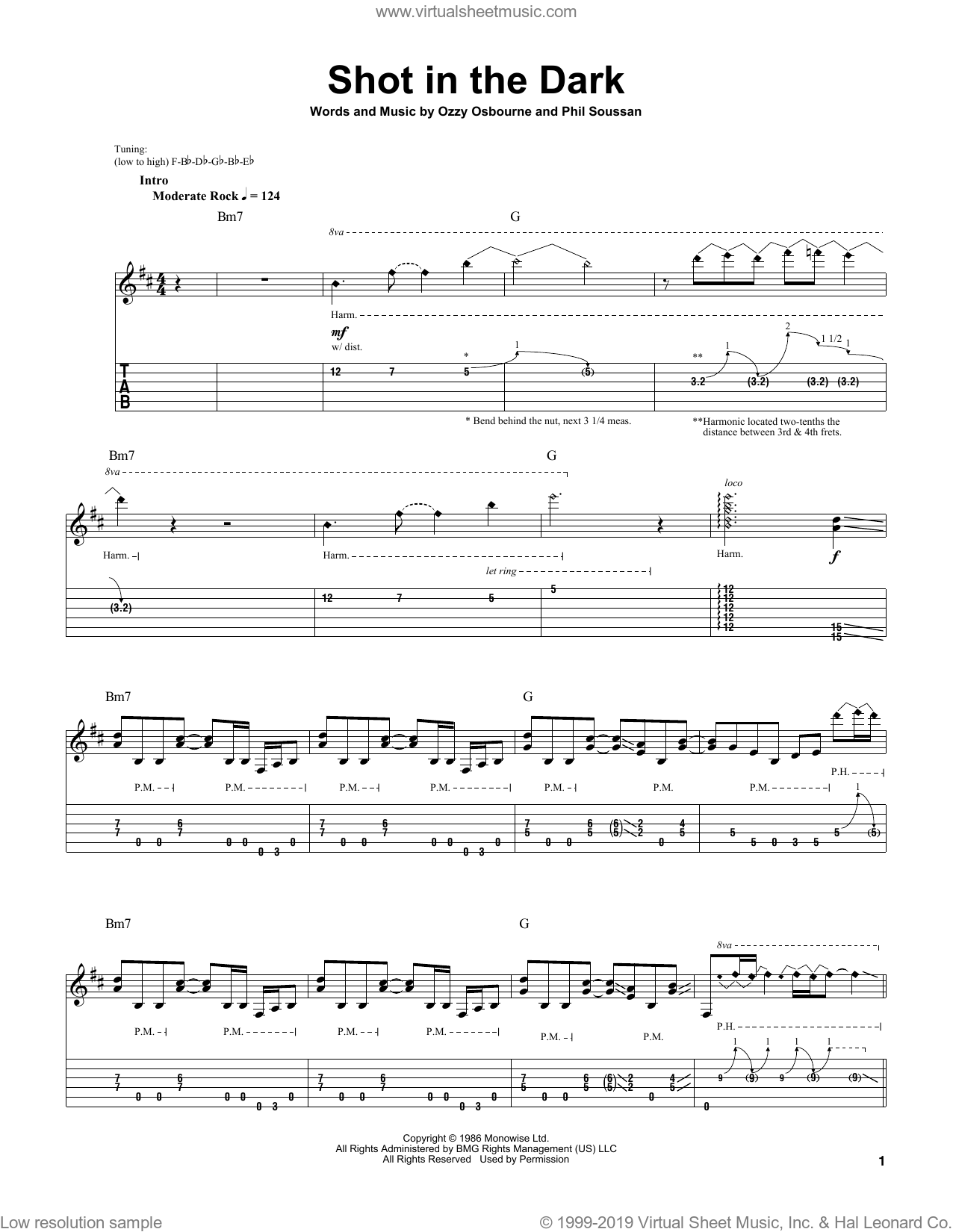 Shot In The Dark sheet music for guitar (tablature, play-along) by Phil Soussan and Ozzy Osbourne. Score Image Preview.