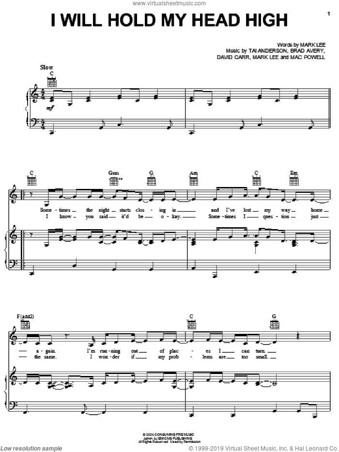 I Will Hold My Head High sheet music for voice, piano or guitar by Third Day, Brad Avery, David Carr, Mac Powell, Mark Lee and Tai Anderson, intermediate skill level