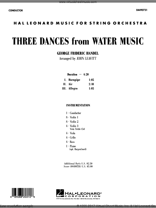 Three Dances from Water Music (COMPLETE) sheet music for orchestra by George Frideric Handel