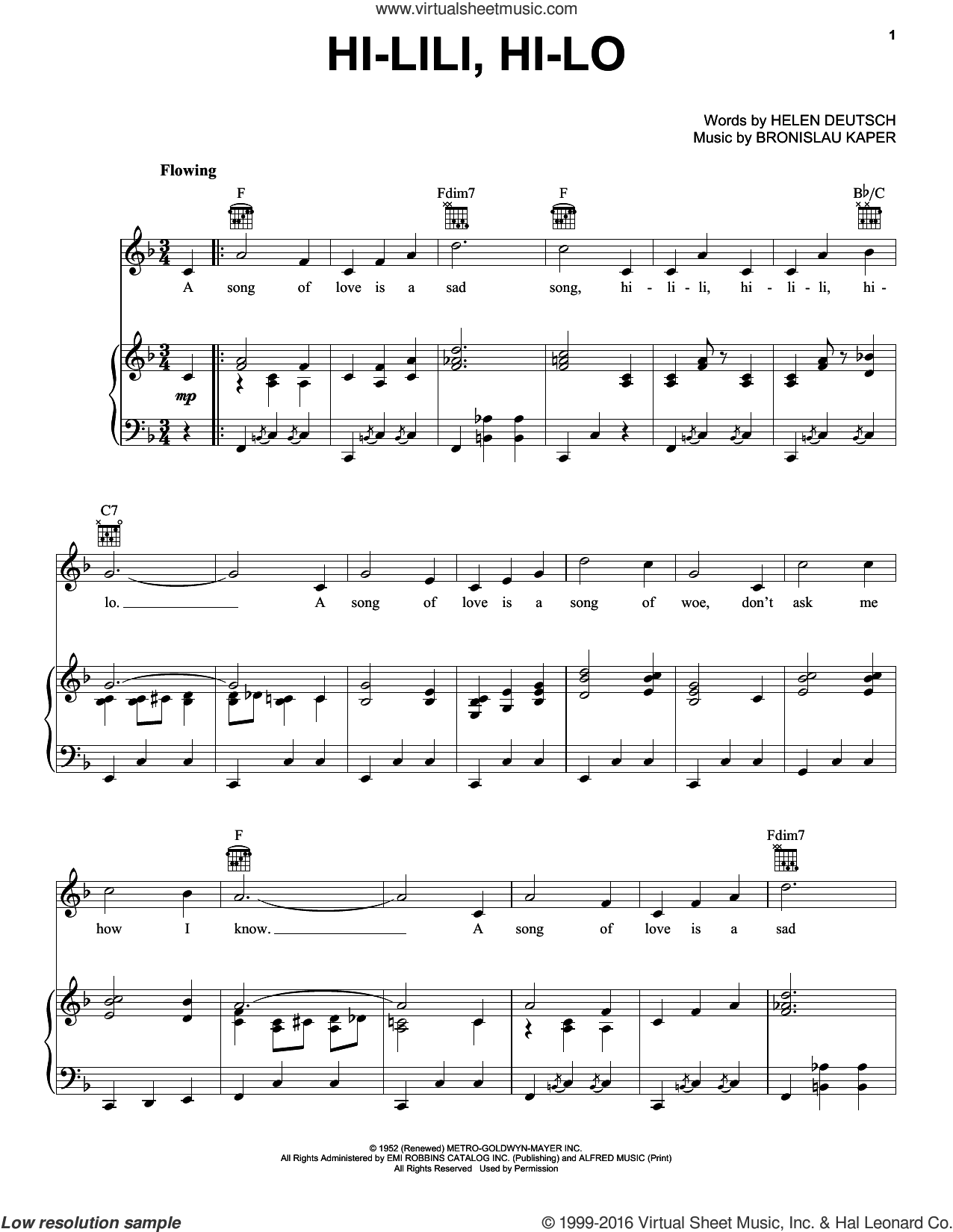 Hi-lili, Hi-lo sheet music for voice, piano or guitar by Gene Vincent, Duane Eddy, Bronislau Kaper and Helen Deutsch, intermediate skill level