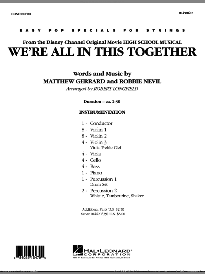 We're All in This Together (from High School Musical) (COMPLETE) sheet music for orchestra by Matthew Gerrard, Robbie Nevil and Robert Longfield, intermediate skill level