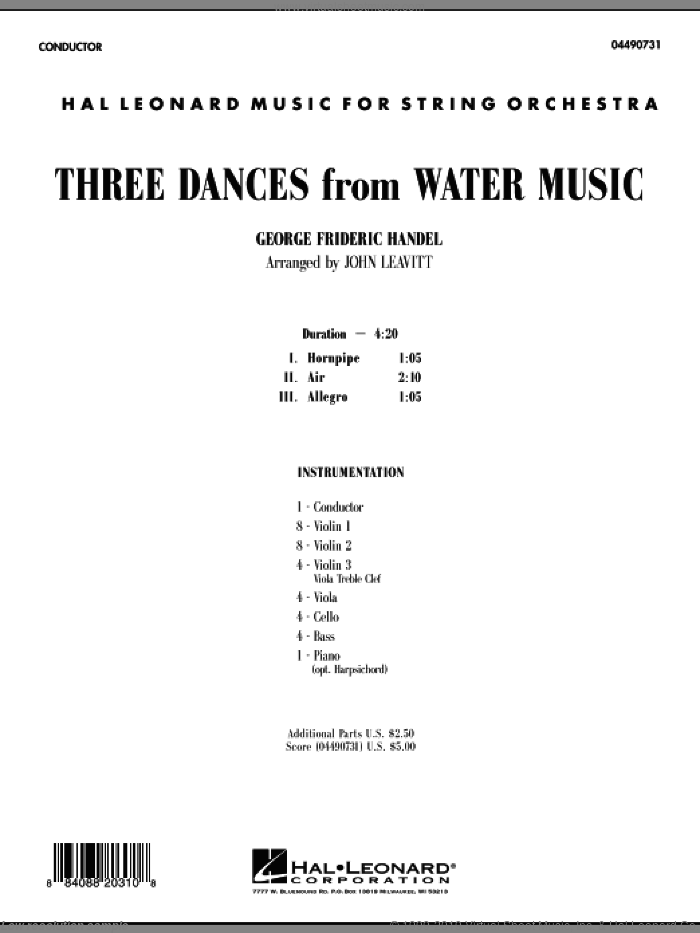 Three Dances from Water Music (COMPLETE) sheet music for orchestra by George Frideric Handel and John Leavitt, intermediate skill level