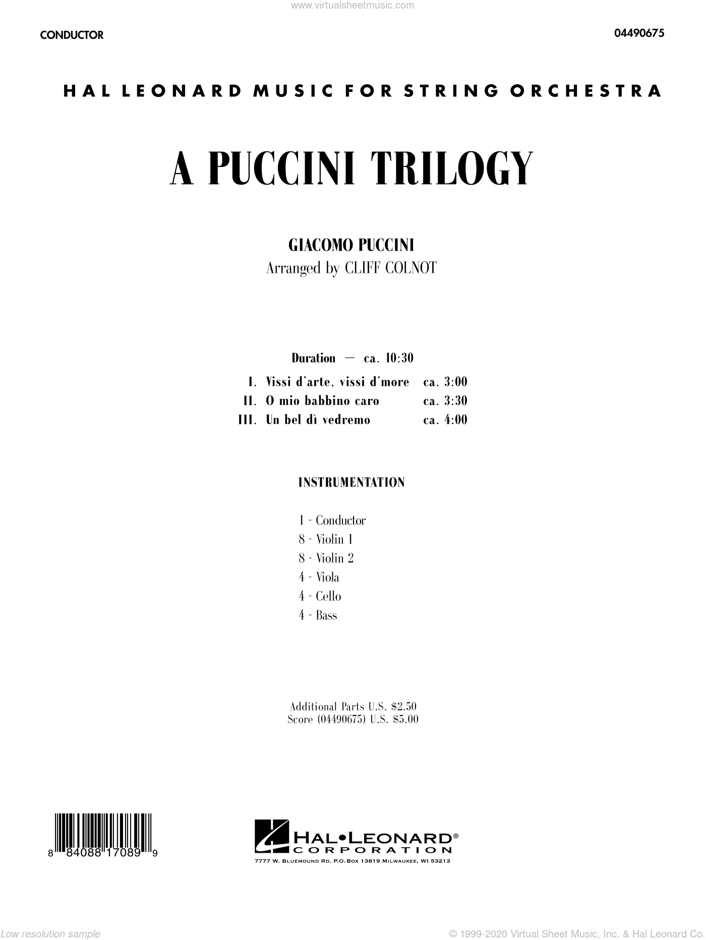 A Puccini Trilogy sheet music for orchestra (full score) by Giacomo Puccini