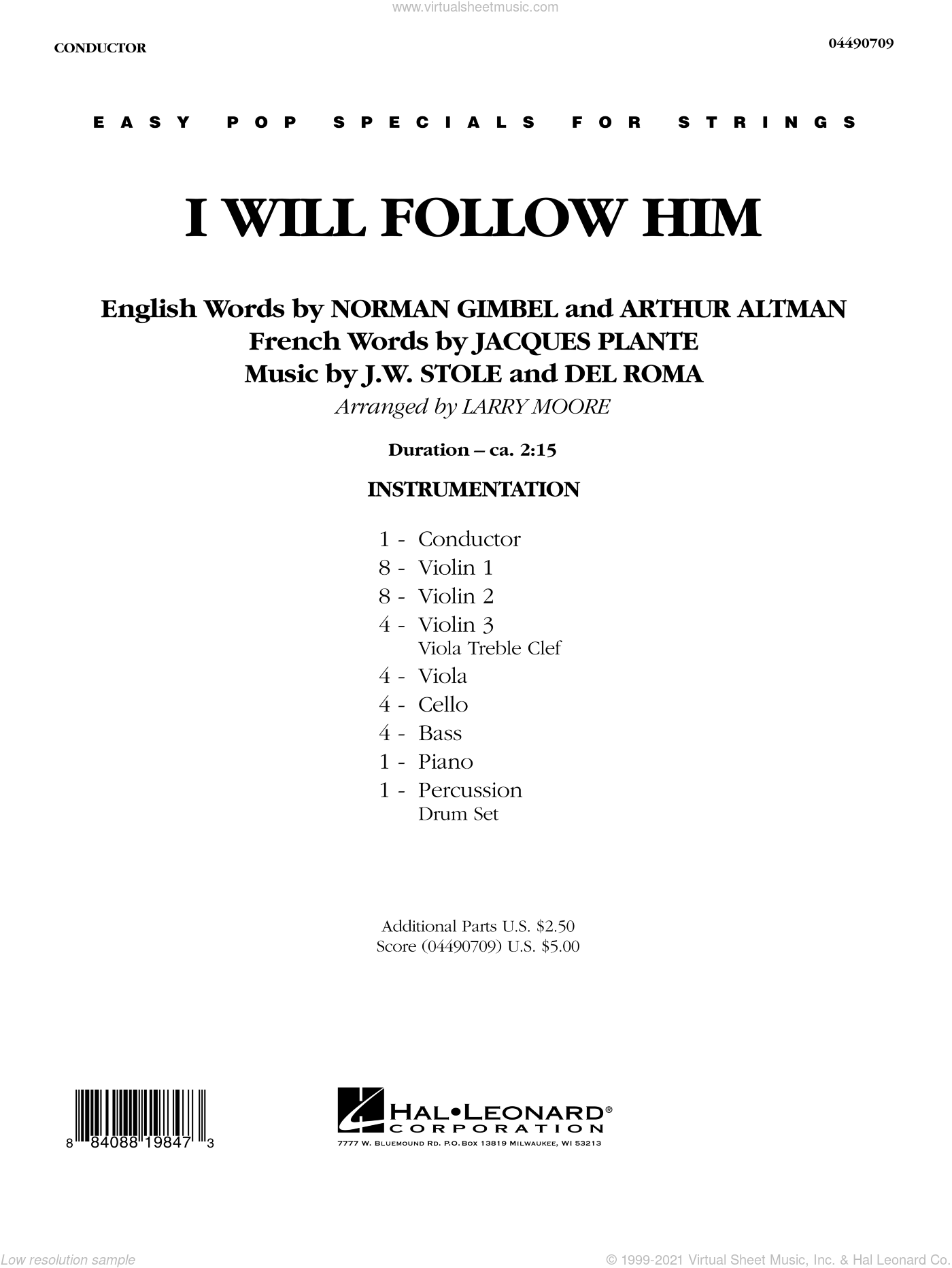 I Will Follow Him sheet music for orchestra (full score) by Del Roma