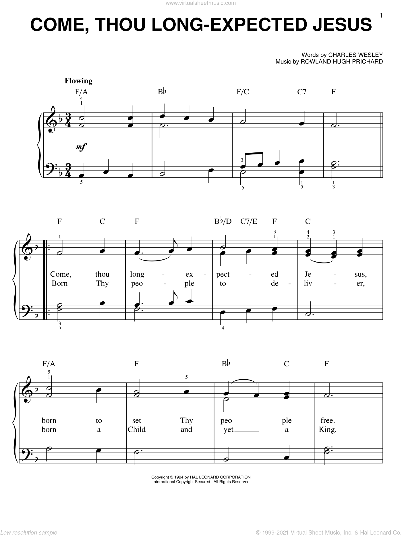 Come, Thou Long-Expected Jesus, (easy) sheet music for piano solo by Charles Wesley and Rowland Prichard, easy skill level