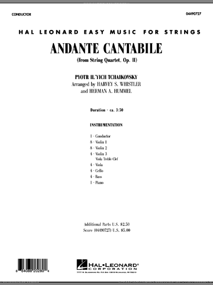 Andante Cantabile (from String Quartet, Op. 11) (COMPLETE) sheet music for orchestra by Pyotr Ilyich Tchaikovsky, Harvey Whistler and Herman Hummel, classical score, intermediate. Score Image Preview.