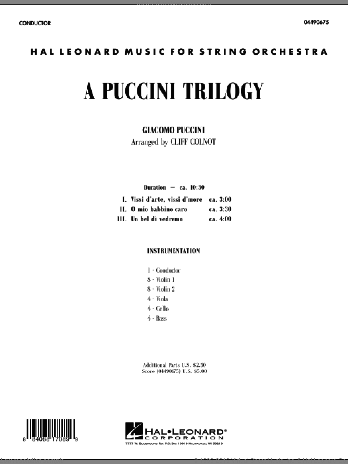 A Puccini Trilogy (COMPLETE) sheet music for orchestra by Giacomo Puccini and Cliff Colnot, classical score, intermediate. Score Image Preview.