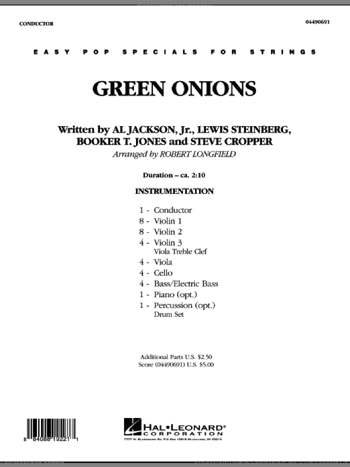 Green Onions (COMPLETE) sheet music for orchestra by Robert Longfield, intermediate skill level