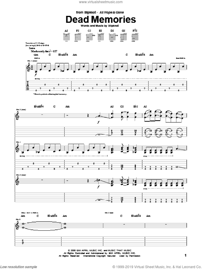 Dead Memories sheet music for guitar (tablature) by Slipknot, intermediate
