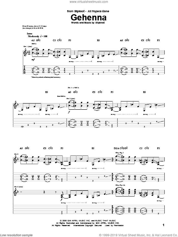 Gehenna sheet music for guitar (tablature) by Slipknot. Score Image Preview.