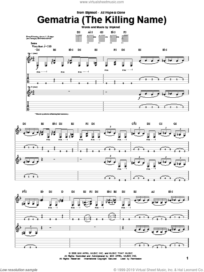 Gematria (The Killing Name) sheet music for guitar (tablature) by Slipknot, intermediate. Score Image Preview.